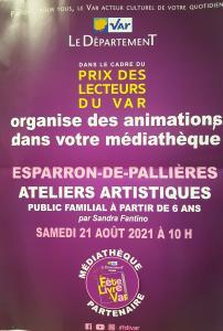 Atelier Artistique - Prix des lecteurs du Var 2021 - Esparron